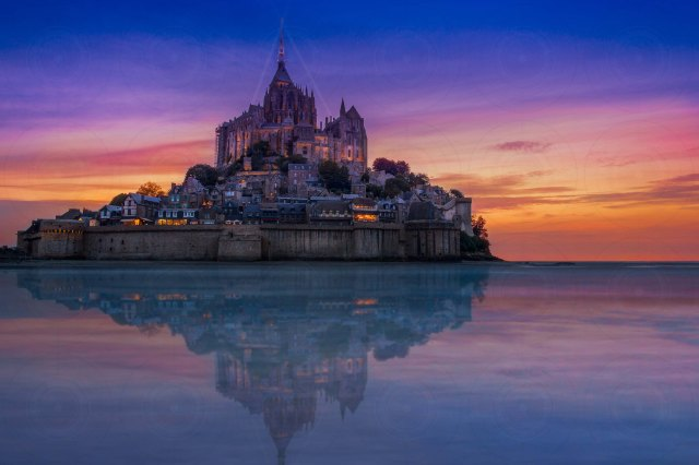Mont St-Michel At Night Reflection DRI-Getty-Finale